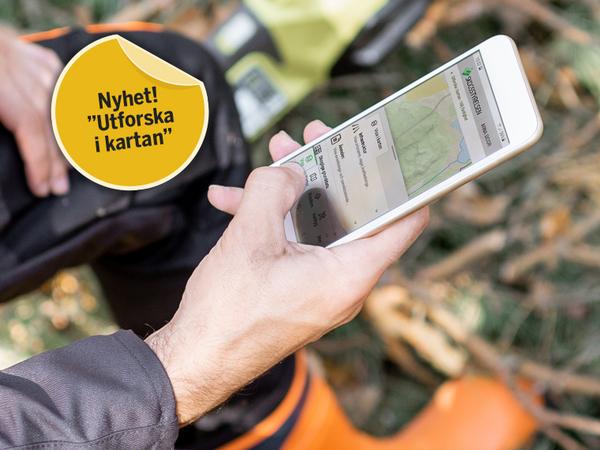 En person sitter i skogen och använder tjänsten Utforska i kartan på sin mobiltelefon.
